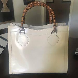 GUCCI large beige brushed leather bag